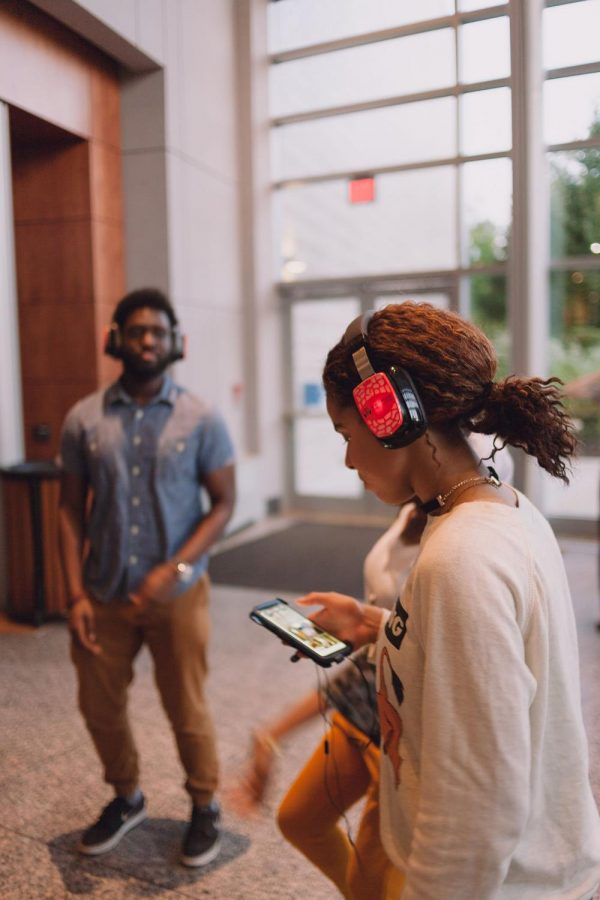 The Silent Disco as it unfolds in the HVPA lobby