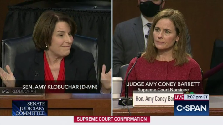 Senator Amy Klobuchar and Judge Amy Coney Barrett during the Senate Judiciary Committee hearing.