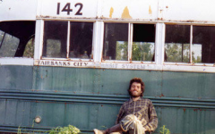 A self-portrait by Christ McCandless by his bus in Alaska.