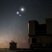 The Moon in conjunction with Venus and Jupiter, with the Very Large Telescope in the foreground. Image © Y. Beletsky, ESO, 2009.