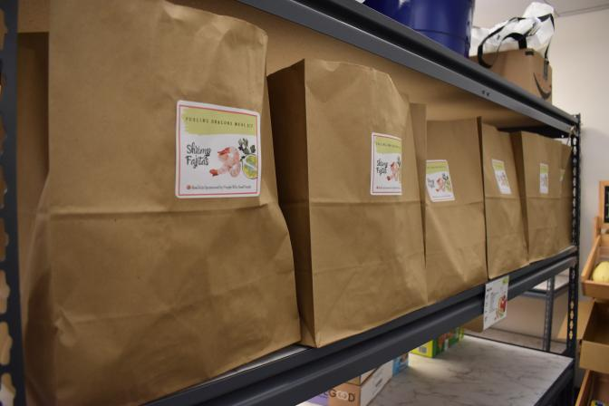 Among the newest features of the HCC food pantry are meal kits containing a recipe and ingredients to create two meals for a family of four.